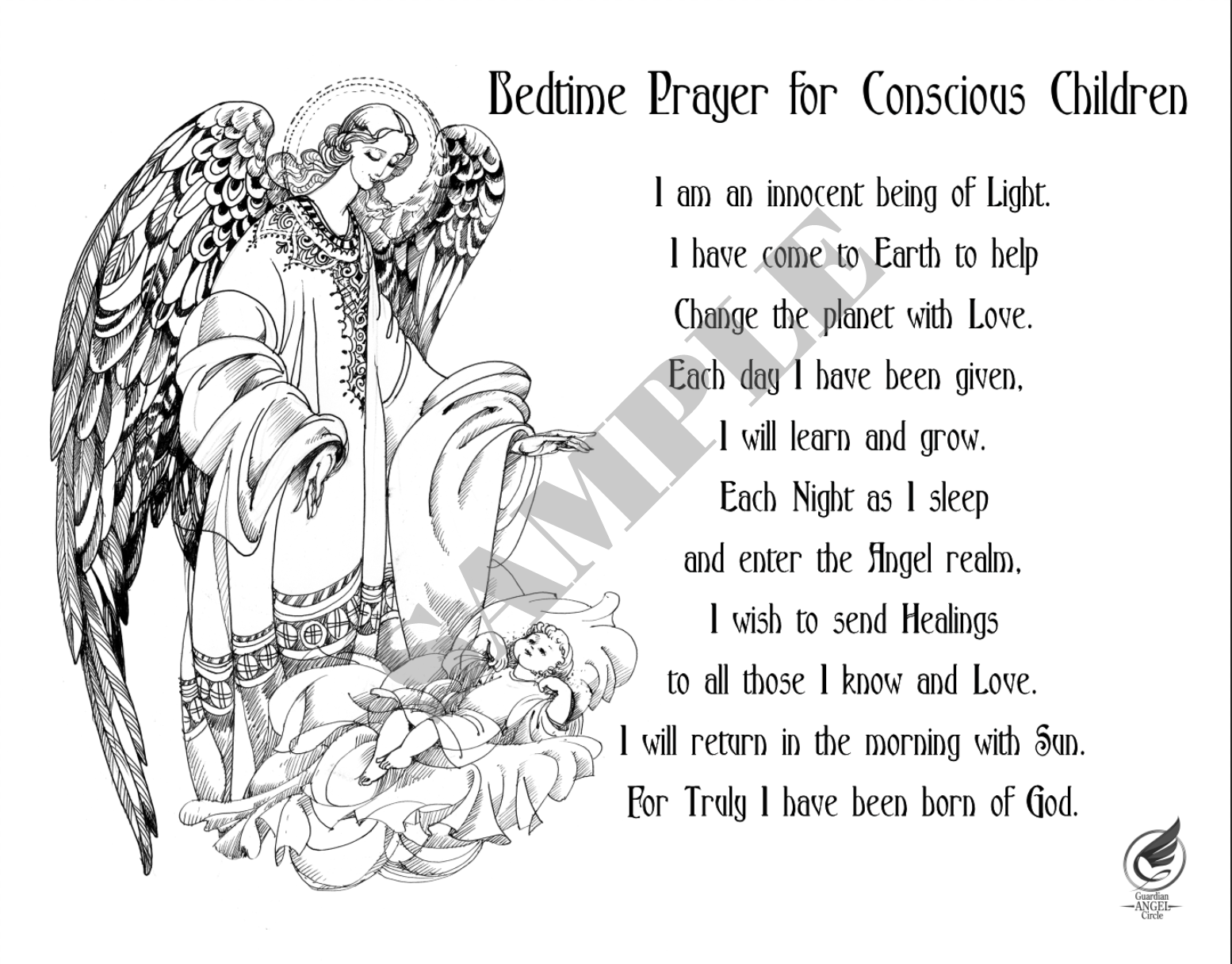Black and White Angel Prayer